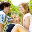 Stock Photo: Couple at a picnic in vineyard