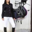 Equestrian with saddle — Stock Photo