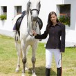 Equestrian with horse — Stock Photo