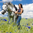 Equestrian with a horse on meadow — Stock Photo #11284159