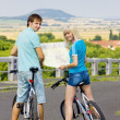 Bikers holding a map, Czech Republic — Stock Photo