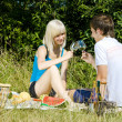 Couple at a picnic — Stock Photo