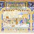 Tile painting, Spanish Square (Plaza de Espana), Seville, Andalu - Photo