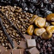 Dried fruit with chocolate and coffee beans — Stock Photo