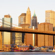 Manhattan with Brooklyn Bridge, New York City, USA — Stock Photo