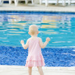 Little girl at swimming pool, Tobago — Stock Photo