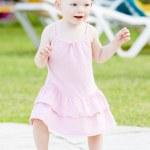 Small girl on walk — Stock Photo