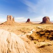 The Mittens and Merrick Butte, Monument Valley National Park, Ut - Stock Photo