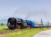 Passenger train with steam locomotives, Strazovske Vrchy, Slovakia — Stock Photo