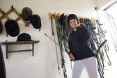 Equestrian in a stable — Zdjęcie stockowe
