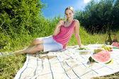 Woman at a picnic — Stock Photo