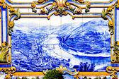 Tiles (azulejos) at railway station of Pinhao, Douro Valley, Por — Stock Photo