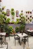 Patio restaurant (courtyard), Cordoba, Andalusia, Spain — Stock Photo