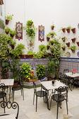 Patio restaurant (courtyard), Cordoba, Andalusia, Spain — Stock Photo