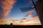 Windmills at sunset, Campo de Criptana, Castile-La Mancha, Spain — Stock Photo