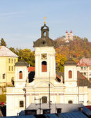 Church of St. Mary and Calvary at background, Banska Stiavnica, — Stock Photo