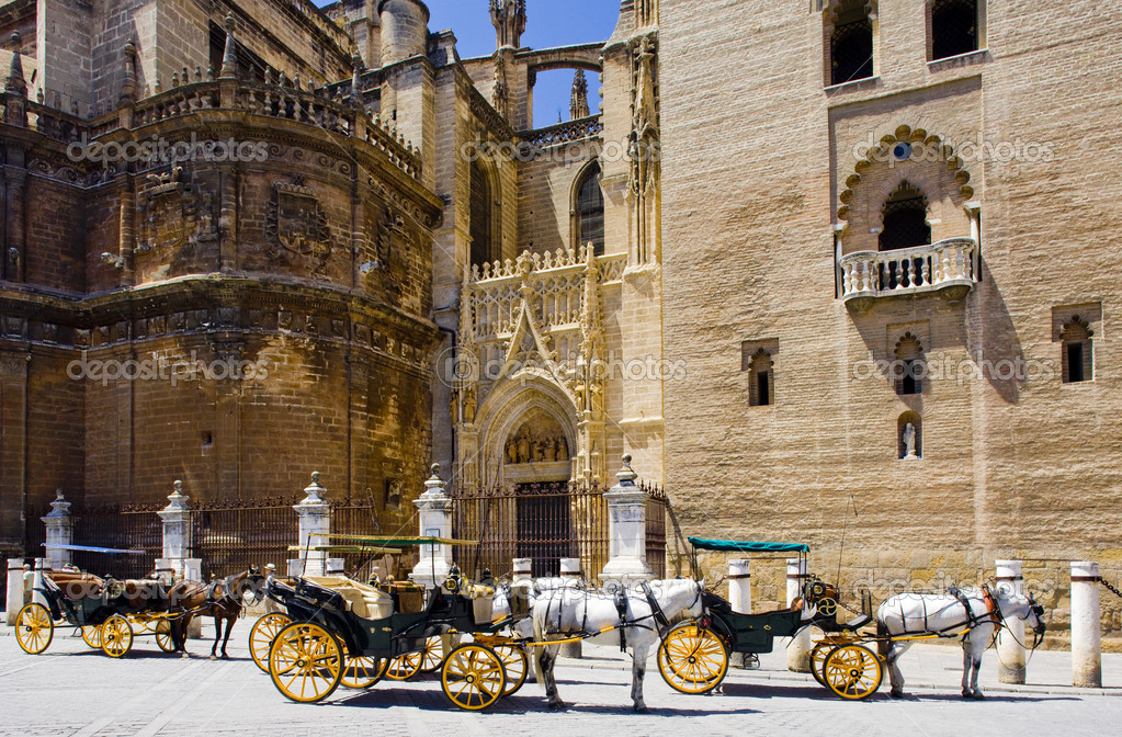 Carriages in front of Cathedral of Seville, Andalusia, Spain — Stock Photo #11284805