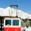 Electric car at Strbske pleso station, Vysoke Tatry (High Tatras — Stock Photo
