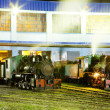 Steam locomotives in depot at night, Kostolac, Serbia — Stock Photo