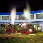 Steam locomotives in depot at night, Kostolac, Serbia — Stock Photo