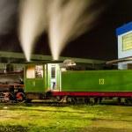 Steam locomotive in depot at night, Kostolac, Serbia — Stock Photo