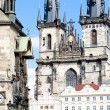 Tynsky church at Old Town Square, Prague, Czech Republic - Stock Photo