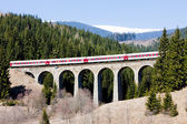 Passenger train on railway viaduct near Telgart, Slovakia — Stock Photo