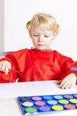 маленькая девочка, картина с акварелью — Стоковое фото
