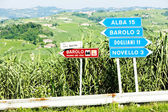 Signposts near Barolo, Piedmont, Italy — Stock Photo