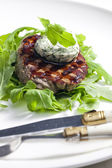 Grilled beefsteak with herbal butter — Stockfoto