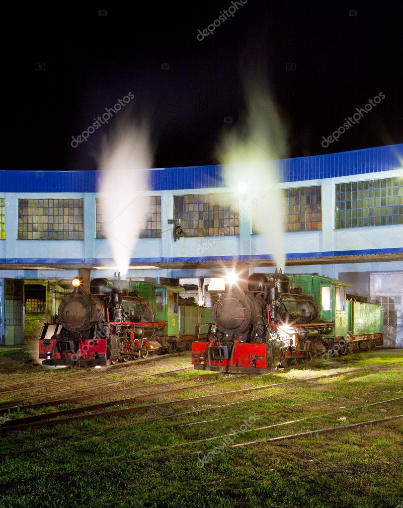 Steam locomotives in depot at night, Kostolac, Serbia  Stock Photo #11290197
