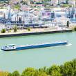 Stock Photo: Cargo ship on Rhone River,Rhone-Alpes, France