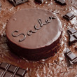 Still life of Sacher cake — Stock Photo