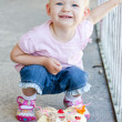 Little girl with birthday cake — Stock Photo #11424855