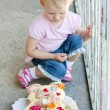 Little girl with birthday cake — Stock Photo #11424859