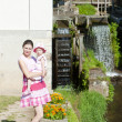 Mother with her daughte at water mill in Ratiborice, Czech Repub — Stock Photo