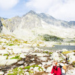 Woman backpacker at Five Spis Tarns, Vysoke Tatry (High Tatras), — Stock Photo