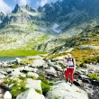Wombackpacker at Five Spis Tarns, Vysoke Tatry (High Tatras), — Stock Photo #11425088