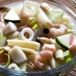 Fish soup with seafood — Stock Photo