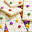Still life of white chocolate with smarties — Stok fotoğraf