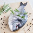 Stock Photo: Raw bream with herbs