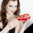 Portrait of young woman with Valentine´s chocolate box — Stock Photo #11428674
