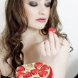 Portrait of young woman with Valentine´s chocolate box — Stock Photo