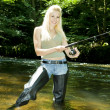 Stock Photo: Woman fishing in river