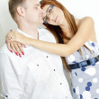 Portrait of hugging couple - Stock Photo