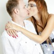 Portrait of kissing couple - Stockfoto