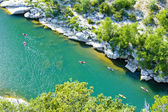 Kayaks in Ardeche Gorge, Rhone-Alpes, France — Stock Photo