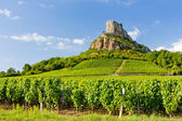 Solutre Rock with vineyards, Burgundy, France — Stock Photo