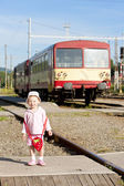 Litte girl at railway station, Czech Republic — Stok fotoğraf