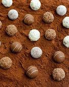 Pralines in cocoa — Stock Photo
